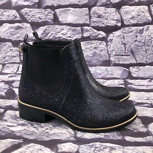 Kate Spade Women's Dark Blue Glitter Sparkle Designer Chelsea Ankle Boots Sz 11