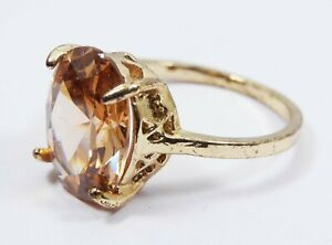 Natural 4 Grm Cambodian Solitare Oval Padparadscha Zircon Metal Ring Gemstone