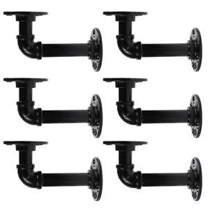 6 Industrial Wall Mount Iron Pipe Shelf Holder Bracket for Wood Floating Shelves