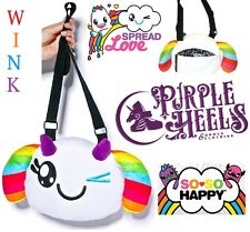 So So Happy Wink Friendlee White Rainbow Plush Crossbody Bag