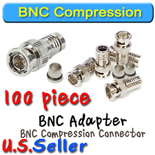 100 pack RG59 BNC Compression Connector for CCTV DVR Coax Camera Connection