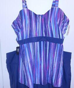 Denim & Co Beach Sweetheart Tankini with Skort Skirt 2 Piece A350356 20W $68