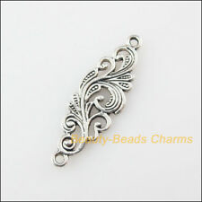 10Pcs Tibetan Silver Tone Flower Clouds Charms Pendants Connectors 9.5x29.5mm