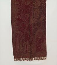 Yak/Sheep Boiled Wool Blend|Banket/Throw|Handcrafted|India|Dark Red & Lt Khaki