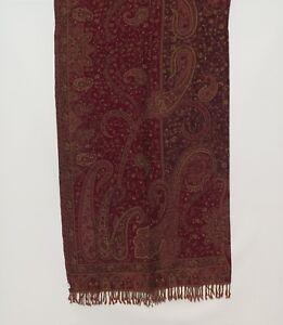 Yak/Sheep Boiled Wool Blend Banket/Throw Handcrafted India Dark Red & Lt Khaki