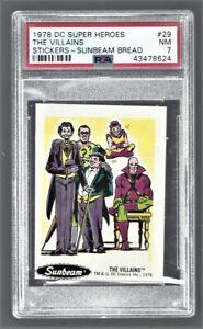 "1978 DC Super Heroes Stickers Sunbeam Bread ""The Villains"" #29 PSA 7 #43478624"