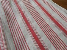 Antique Primitive Rare Red Wide Stripe Cotton Ticking Fabric~Americana Farmhouse