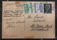 1939 Warsaw Poland PS Postcard Cover to St Croix Switzerland