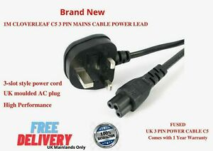 New Clover Lead UK Power Mains Cable Lead Laptop Charger LCD, LED Adaptor