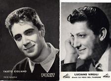2 cartoline musicisti cantanti musica italiana Cigliano Virgili