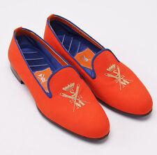 New $845 SUTOR MANTELLASSI Tangerine Orange Monogram Slip-On Loafer US 8 D Shoes