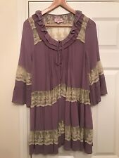 Ladies Darling Purple & Cream Chiffon & Lace Loose Fit Top Size Large Fits 14/16