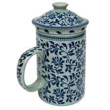 PORCELLANA CINESE Tazza da tè con infus. E COPERCHIO-Blu Modello Foglia