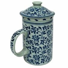 Porcelain Chinese Tea Mug with Infuser and Lid - Blue Leaf Pattern