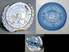 U.N UN United Nations Peacekeeping Cap Badge + Shoulder Patch + Lapel Pin Set