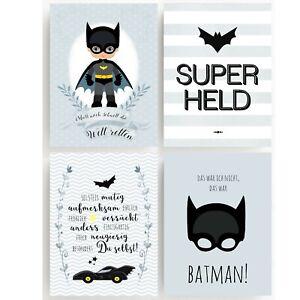 Bilderset SUPERHELD BATMAN HERO Druck Bild Poster 4erSET PRINT Kinder Print