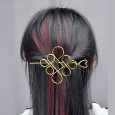New Womens Gold Plated Hollow Chinese Knot Barrette Hair Pin Stick Slide Clip
