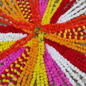 20 PC Artificial Marigold Indian Event Wedding Flower Garlands Vine Decoration