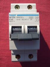 Réf NF232 OU NFN232 DISJONCTEUR HAGER 2P 32A 6/10kA COURBE C 230;400V NEUF