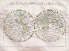 Map World Double Hemisphere Mappe Monde Hydrographie Sa
