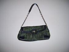 "Worthington Small Green & Black Tweed Jeweled Baguette Handbag Strap Drop 9"""