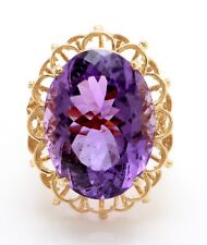 13.93 Carat Natural Purple Amethyst in 14K Solid Yellow Gold Women Ring