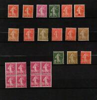 FRANCE : 15 semeuses timbres neufs ** + 2 blocs de 4