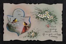 C1916 French plastic card - Birds singing & flowers 'happy birthday'