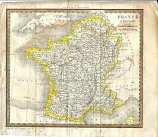 Carta geografica antica FRANCIA FRANCE Carthy 1824 Old antique map