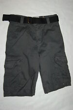 Boys CHARCOAL GRAY CARGO SHORTS w/ BLACK BELT Bailey's Point 100% COTTON Size 4