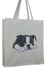 More details for cute boston terrier puppy dog cotton bag & gusset xtra space perfect gift