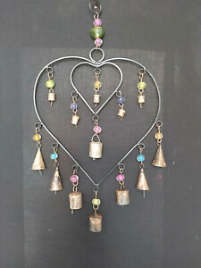 HANDMADE DOUBLE CONNECTED IRON HEART MOBILE/WINDCHIME WITH BELLS & BEADS