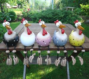 Witzig Keramik Huhn Gartenstecker Henne Hahn Hühner Vogel Kantensitzer Handmade
