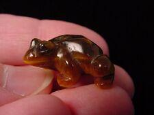 """(y-fro-500) FROG CARVING TIGEREYE brown gem stone gemstone figurine 1"""" frogs"""