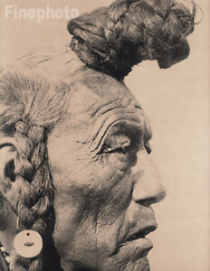 1900/72 EDWARD CURTIS Native American Indian Blackfoot Man Hair Photo Art 12x16