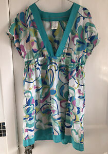 Perry Ellis Pink Blue Patterned Smock Top Tunic Silk Mix 60s 70s M 12 14