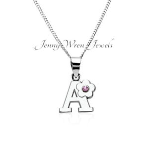 CHILDREN's Jewellery Initial Letter Necklace Sterling Silver Chain alloy charm