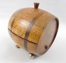Vintage Wooden beer Keg  shape on feet Tobbacco Jar - Tea Caddy - trinket box