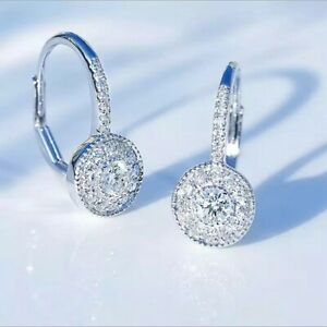 18K REAL WHITE GOLD FILLED HOOP EARRINGS MADE WITH SWAROVSKI CRYSTALS  UK  WG44