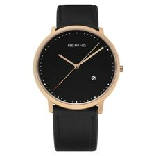 Bering Time  Classic  Men's Black & Gold Leather Slim Watch 11139-462