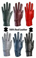 Ladies Womens Genuine Leather Gloves Fleece Lined DRIVING SOFT WINTER BOW WARM