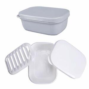 Soap Travel Container Portable Soap Case Leakproof Soap Box Soap Saver set2