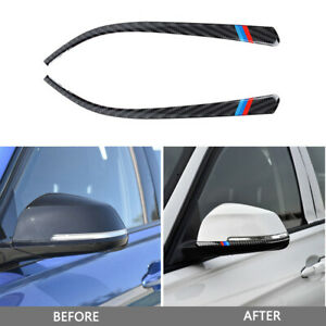Carbon Fiber Rearview Mirror Bumper Guard Sticker Trim For BMW F30 F31 F32 F33