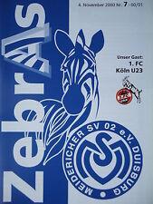 Programm 2000/01 MSV Duisburg Am. -  1. FC Köln U23
