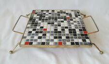 Vtg 1950's Brass-Finish Metal & Ceramic Mosaic Tile Trivet ~ Mid Century Colors