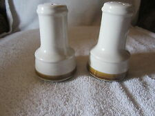 "SET OF SALT & PEPPER SHAKERS CREAM WHITE AND TANISH BROWN STRIP 4 "" TALL"