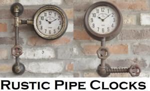 Vintage Pipe Clocks Metal Industrial Pipe Wall Clocks