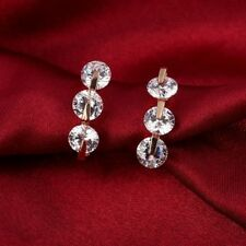 Rose Gold Plated Sparkling AAA Round Zircon Hoop Earrings Jewelry Ear Brincos