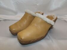 Nine West Camel Yellow Tan Mule Clogs Wool Lined Heel Shoes Size 5.5 M