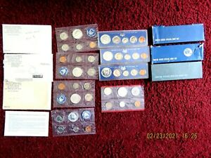 1964 1965 1966 & 1967 US Special Mint Sets with 40% Silver Kennedy Half Dollars